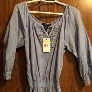BNWT Nine West, Ocean Blue cotton/crochet shirt